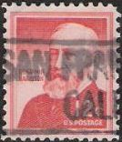 Red 12-cent U.S. postage stamp picturing Benjamin Harrison