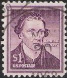 Purple $1- U.S. postage stamp picturing Patrick Henry