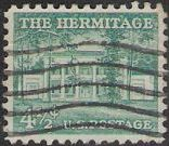 Blue green 4.5-cent U.S. postage stamp picturing The Hermitage