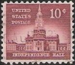 Red brown 10-cent U.S. postage stamp picturing Independence Hall