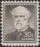 Black 30-cent U.S. postage stamp picturing Robert E. Lee