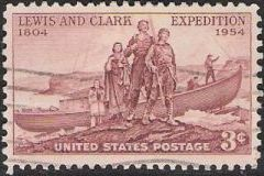 Brown 3-cent U.S. postage stamp picturing Meriwether Lewis, William Clark, and Sacagawea