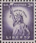 Purple 3-cent U.S. postage stamp picturing Statue of Liberty