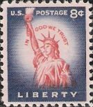Violet blue and red 8-cent U.S. postage stamp picturing Statue of Liberty