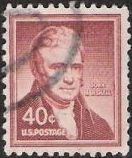 Red brown 40-cent U.S. postage stamp picturing John Marshall