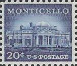 Blue 20-cent U.S. postage stamp picturing Monticello