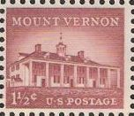 Red brown 1.5-cent U.S. postage stamp picturing Mount Vernon