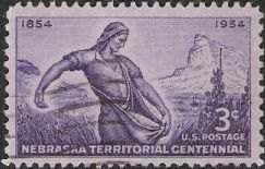 Purple 3-cent U.S. postage stamp picturing 'The Sower'