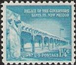 Turquoise 1.25-cent U.S. postage stamp picturing Palace of the Governors in Santa Fe, New Mexcio