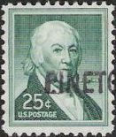 Green 25-cent U.S. postage stamp picturing Paul Revere