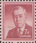 Carmine rose 7-cent U.S. postage stamp picturing Woodrow Wilson