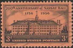Black 3-cent U.S. postage stamp picturing Nassau Hall