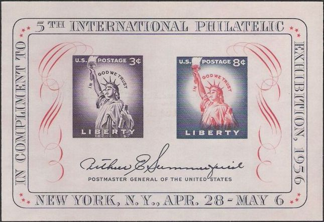 Souvenir sheet containing two stamps picturing Statue of Liberty