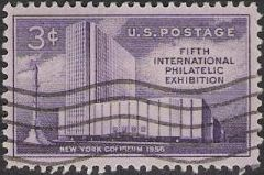 Purple 3-cent U.S. postage stamp picturing New York Coliseum