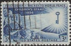 Blue 3-cent U.S. postage stamp picturing children and key