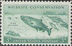 Blue green 3-cent U.S. postage stamp picturing king salmon