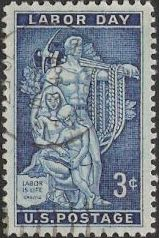 Blue 3-cent U.S. postage stamp picturing relief from AFL-CIO headquarters