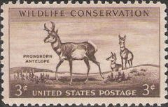 Brown 3-cent U.S. postage stamp picturing pronghorn antelope