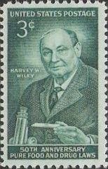 Green 3-cent U.S. postage stamp picturing Harvey Wiley