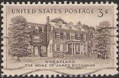 Black brown 3-cent U.S. postage stamp picturing Wheatland