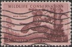 Purple brown 3-cent U.S. postage stamp picturing wild turkey