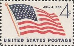 4-cent U.S. postage stamp picturing American flag