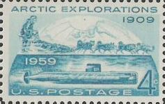 Green blue 4-cent U.S. postage stamp picturing submarine and dogs pulling sled