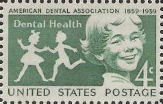 Green 4-cent U.S. postage stamp picturing children