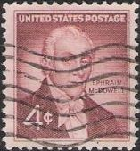 Purple brown 4-cent U.S. postage stamp picturing Ephraim McDowell