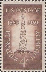 Brown 4-cent U.S. postage stamp picturing oil derrick
