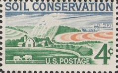 4-cent U.S. postage stamp picturing fields