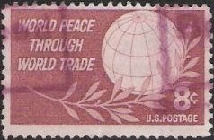 Claret 8-cent U.S. postage stamp picturing globe and branch