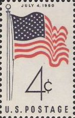 Blue and red 4-cent U.S. postage stamp picturing American flag