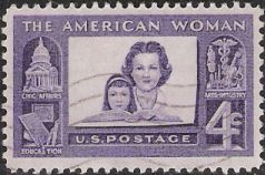 Purple 4-cent U.S. postage stamp picturing woman and girl
