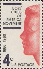 Blue and red 4-cent U.S. postage stamp picturing boy