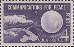 Purple 4-cent U.S. postage stamp picturing Echo I satellite