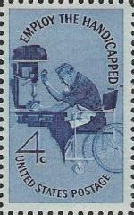 Blue 4-cent U.S. postage stamp picturing man in wheelchair using machine