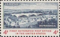 Blue and red 4-cent U.S. postage stamp picturing Providence, Rhode Island, post office
