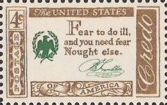 Brown and green 4-cent U.S. postage stamp bearing quote, 'Fear to do ill, and you need fear nought else'
