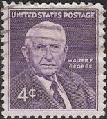Purple 4-cent U.S. postage stamp picturing Walter George
