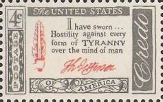 Gray and red 4-cent U.S. postage stamp bearing quote, 'I have sworn...hostility against every form of tyranny over the mind of man'