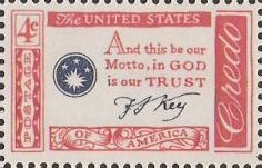 Red and blue 4-cent U.S. postage stamp bearing quote, 'And this be our motto, in God is our trust'