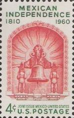 Red and green 4-cent U.S. postage stamp picturing bell