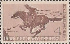Brown 4-cent U.S. postage stamp picturing Pony Express rider on horse