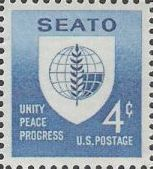 Blue 4-cent U.S. postage stamp picturing SEATO emblem
