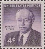 Purplr 4-cent U.S. postage stamp picturing Robert Taft