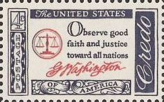 Blue and red 4-cent U.S. postage stamp bearing quote, 'Observe good faitha nd justice toward all nations'