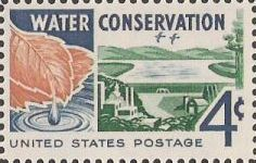 4-cent U.S. postage stamp picturing leaf, reservoir, and buildings