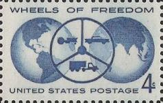 Blue 4-cent U.S. postage stamp picturing globes and wheel