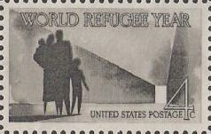Gray 4-cent U.S. postage stamp picturing refugees